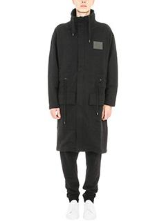 Kenzo-Cappotto monopetto in misto cotone nero