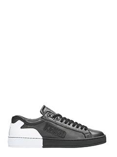 Kenzo-Sneakers Tennix in pelle nera bianca