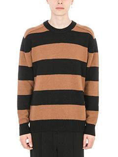 Laneus-Maglia a righe in lana nera/marrone