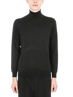 Laneus-Maglia a collo alto in lana nera