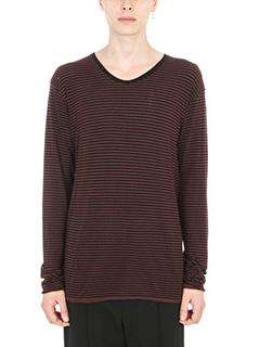 Laneus-T-shirt Stripes in cotone nero/ bordeaux