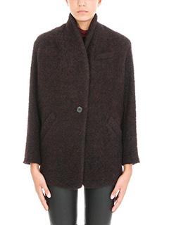 Iro-Cappotto corto Rafa in lana bordeaux nera