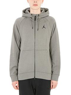 Nike-Felpa Wings fleece in cotone grigio