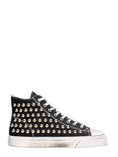 Gienchi-Sneakers Jean Michel Hi Top in tessuto glitter nero