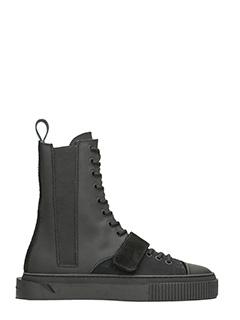 Gienchi-Sneakers Thanatos Boots in gomma e camoscio nero