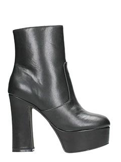 Jeffrey Campbell-Tronchetti De-Facto Block Heel Platform Bootie in pelle nera
