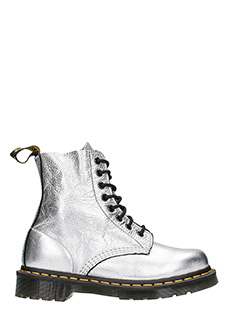Dr. Martens-Anfibi in pelle metal argento