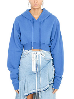 Off White-Felpa Crop Hoodie in cotone blue