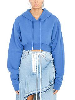 Off White-Simple Crop blue hoodie sweatshirt