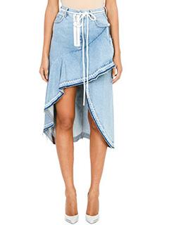 Off White-Asymmetrical Denim Skirt