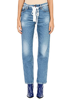 Off White-Jeans Zipped in cotone blue