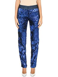 Off White-Pantaloni in tessuto paillettes blue