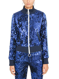 Off White-Giacca Sequins in tessuto paillettes blue