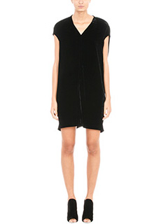 Rick Owens-Abito Floating Tunic in velluto nero