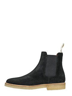 ... Common Projects TRONCHETTI CHELSEA BOOTS IN SUEDE NERO 3 ...